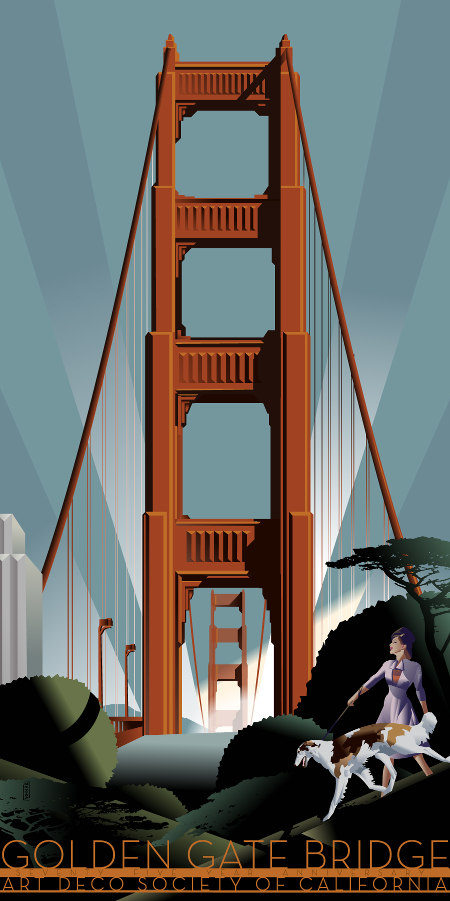 Art deco society of california golden gate bridge poster Deco san francisco