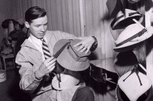 Bill Cunningham fashioning hats in the 1960s.