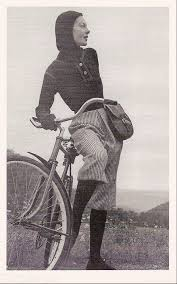 Cycling ensemble including McCardell's signature Superman Hood. Photo: Kay Bell. 1944.