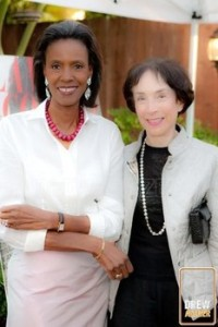Merla Zellerbach with model Katiti Kironde in October 2009. Photo By Drew Altizer.