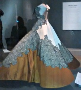 The Cloverleaf Dress designed in 1953 by Charles James for the daughter of a Texas oilman. It weighs 10 lbs., made of layers of different fabrics including satin and lace. Despite its rigid look, it's very pliable and is designed to have a lilt when dancing.