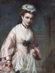 Painting by John Robert Dicksee of Miss Hardcastle from Goldsmith's play, She Stoops to Conquer.