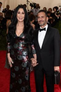 Cher with the designer who dressed her, Marc Jacobs.