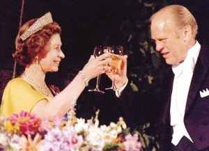 Queen Elizabeth ll in the 1960s with her fashion designer,  Sir Norman Hartnell.
